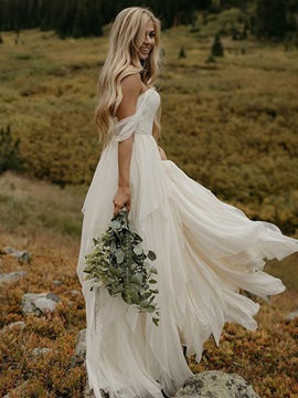 Off-The-Shoulder Lace Beach Wedding Dress 2019 & quality Wedding Desses