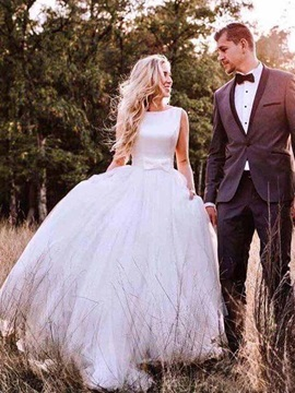 Bateau Neck Button Bowknot Outdoor Wedding Dress 2019 & Wedding Desses from china