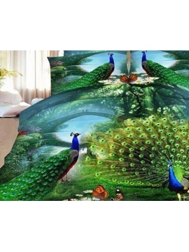 Wannaus Green Peacock Print 4-Piece Polyester 3D Duvet Cover Sets