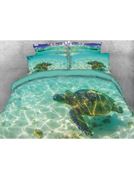 3D Turtle in the Blue Limpid Ocean Printed 4-Piece Bedding Sets/Duvet Covers