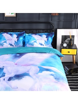 3D Unicorn and Galaxy Printed 4-Piece Bedding Sets/Duvet Covers