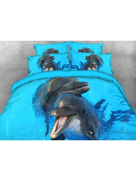 3D Cute Black Dolphins Printed 4-Piece Bedding Sets/Duvet Cover