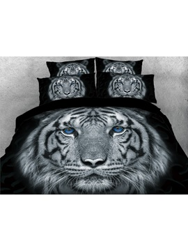 3D Tiger with Blue Eyes Printed 4-Piece Animal Bedding Sets/Duvet Covers