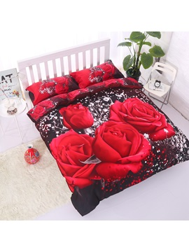 Red Rose Printing Cotton Luxury 4-Piece 3D Bedding Sets/Duvet Covers