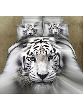 White Tiger Printed Cotton 4-Piece Bedding Sets/Duvet Covers