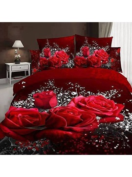 Red Rose and Baby Breath Printed Cotton 3D 4-Piece Bedding Sets