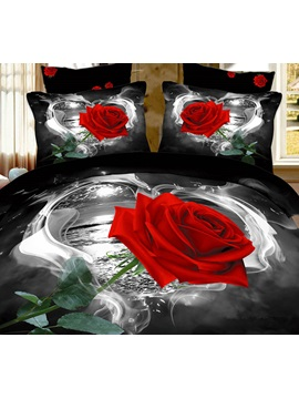 Red Rose in Heart Shape Printed Cotton 4-Piece Black Bedding Sets