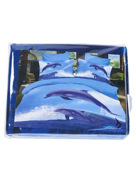 Dolphins Jumping out of Blue Water Print 3D Bedding Sets/Duvet Cover