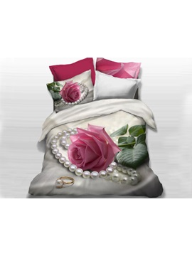 Pink Rose and Pearl Printed Cotton 4-Piece Bedding Sets/Duvet Cover