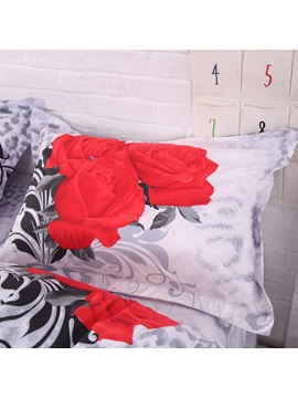 Three Red Roses Leopard 3D Printed 4-Piece Bedding Sets/Duvet Covers