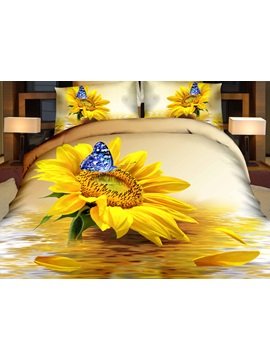 Sunflower and Blue Butterfly Printed Cotton 3D 4-Piece Bedding Sets/Duvet Covers