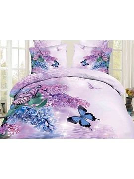 Butterfly and Lilac Printed Cotton 4-Piece 3D Bedding Sets/Duvet Covers