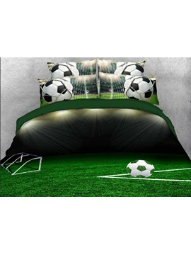 Soccer Ball on the Green Field Printed 3D 4-Piece Bedding Sets