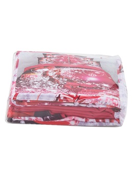 Santa Claus Riding Sleigh Printed 3D 4-Piece Red Bedding Sets/Duvet Covers