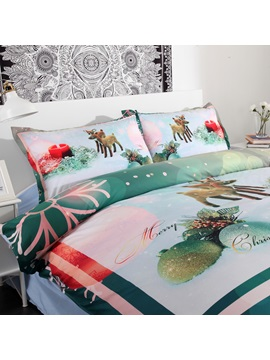 Christmas Ornaments and Snowflake Printed 4-Piece 3D Green Bedding Sets/Duvet Covers