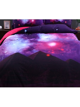 Scintillating Galaxy and Mountain Printed 4-Piece 3D Purple Bedding Sets/Duvet Covers
