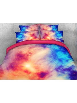 Pink Blue Contrast Galaxy Printed Cotton 3D 4-Piece Bedding Sets/Duvet Covers