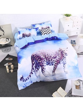 Leopard with Blue Sky and White Clouds Printed 3D 4-Piece Bedding Sets/Duvet Covers