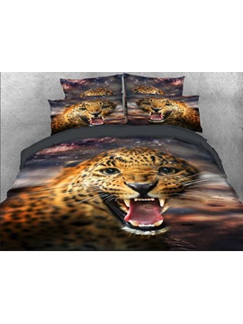 Wild Leopard with Sharp Teeth Printed 4-Piece 3D Bedding Sets/Duvet Covers