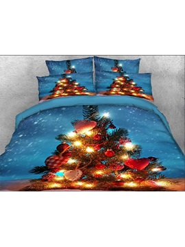 Christmas Tree with Decorations Printed Cotton 4-Piece 3D Bedding Sets/Duvet Covers