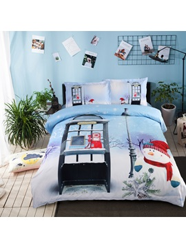 Christmas Snowman and Telephone Booth Printed 3D 4-Piece Bedding Sets/Duvet Covers