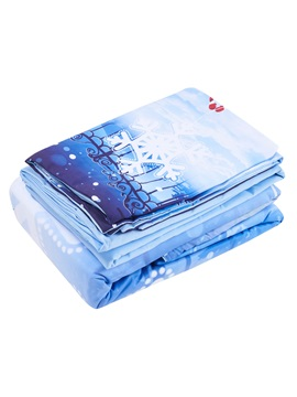 Monkey Christmas Snowflake Printed Cotton 4-Piece 3D Bedding Sets/Duvet Covers