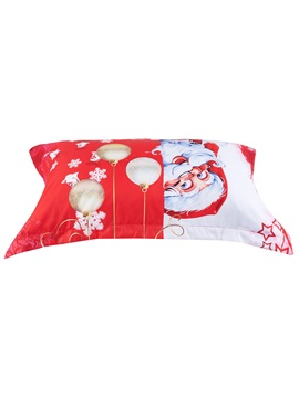 Santa and Christmas Decorations Printed 4-Piece 3D Red Bedding Sets/Duvet Covers