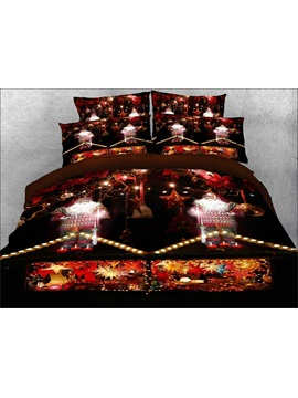Santa Claus and Christmas Candle Printed 3D 4-Piece Bedding Sets/Duvet Covers