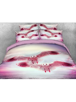Flying Seagull printed 4-Piece 3D Bedding Sets/Duvet Covers
