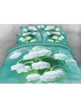 Green Lily of the Valley Pattern Print 3D 4-Piece Bedding Sets/Duvet Covers