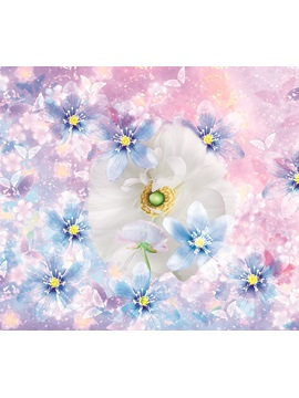 White and Blue Daisy Printed 4-Piece Pink 3D Bedding Sets/Duvet Covers