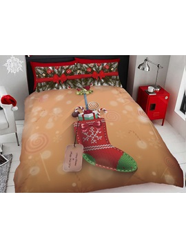 Christmas Stocking and Gifts Digital Printing 4-Piece 3D Bedding Sets/Duvet Covers