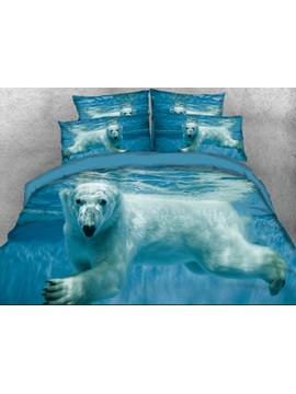 Polar Bear in the Ocean Printed 3D 4-Piece Bedding Sets/Duvet Covers