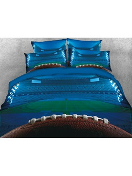 Rugby and Field Printed Blue 4-Piece 3D Bedding Sets/Duvet Cover