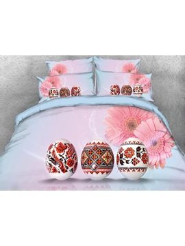 Vivilinen 3D Flower Pattern Easter Eggs with Pink Daisy Printed 4-Piece Bedding Sets/Duvet Covers