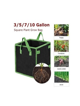 Square Black Green Covered Non Woven Felt Grow Bag