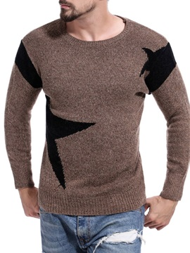 Color Block Round Neck Standard Patchwork Casual Men's Sweater