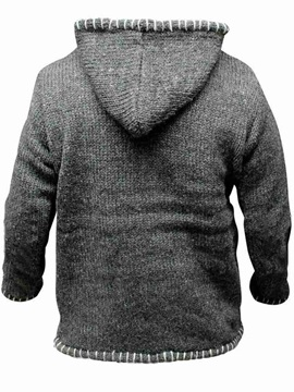 Hooded Color Block Standard Patchwork Casual Men's Sweater