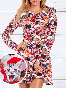 Christmas Print Cartoon Sweet Spring Polyester Women's Dress