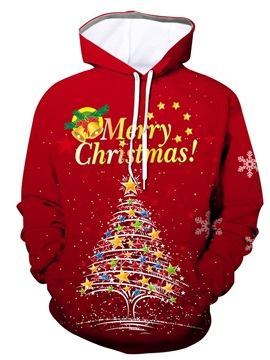 Letter Christmas Print Pullover Pullover Men's Hoodies