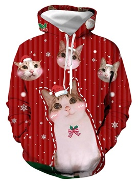 Christmas Pullover Animal Print European Men's Hoodies