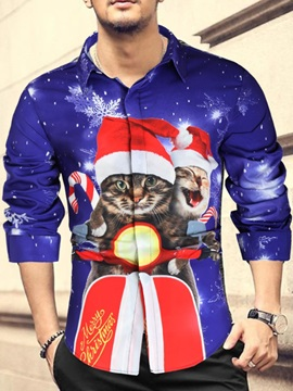 Print Christmas Animal Lapel Casual Fall Men's Shirt