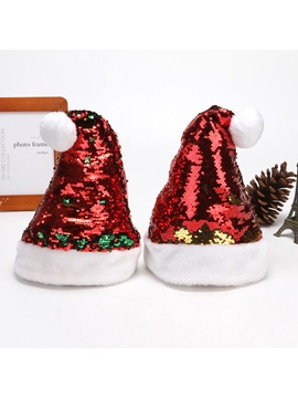 Double-sided Sequin Short Plush Christmas Hats