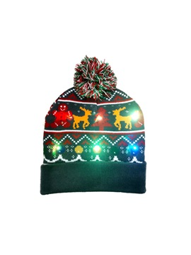 LED Children Hat Christmas Autumn Winter Knitted Hats Pullover Caps