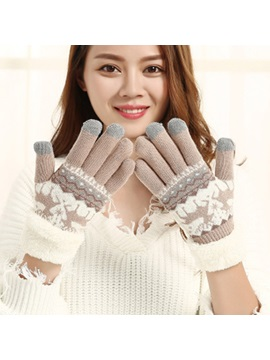 Christmas Autumn Winter Cashmere Double Deer Plus Velvet Thick Warm Knitted Touch Screen Gloves