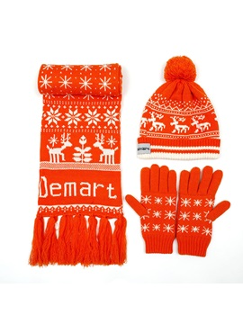 Christmas Knitted Hat Gloves Three-piece Warm Wool Scarf