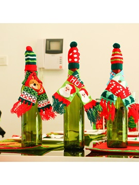 Christmas Knitted Scarf Hat Wine Bottle Decorations