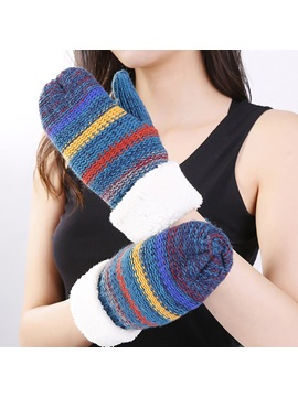 Fashion Color Block Fall Gloves