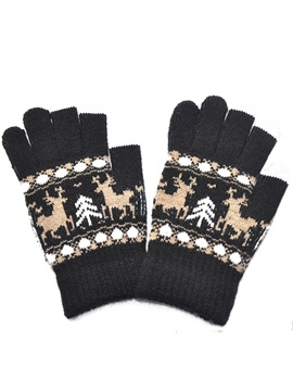Christmas Adult Thickened Plus Velvet Touch Screen Gloves Elk Winter Riding Warm Gloves