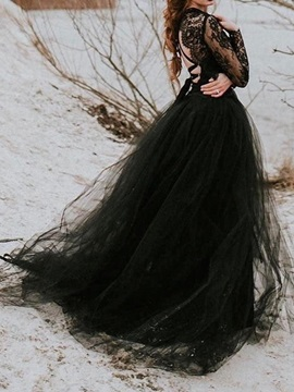 A-Line Floor-Length Long Sleeves Embroidery Black Wedding Party Dress
